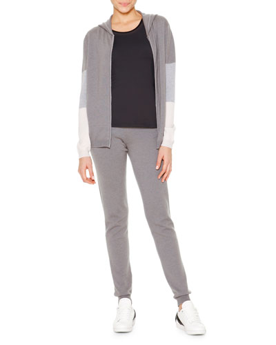 Cashmere Colorblock Hooded Zip Sweatshirt, Techno Jersey Sporty Tank Top & Cashmere Side-Ribbed Jogging Pants