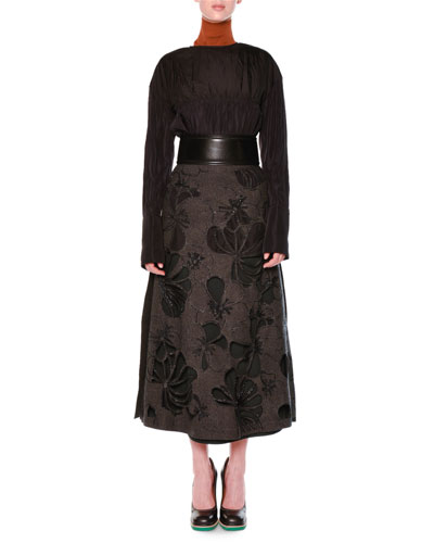 Tiered Gathered Bell-Sleeve Blouse, Beaded Laser-Cut Floral Felt Skirt, Jersey Turtleneck Dickey Collar & Pipe-Trimmed Snap-Back Belt
