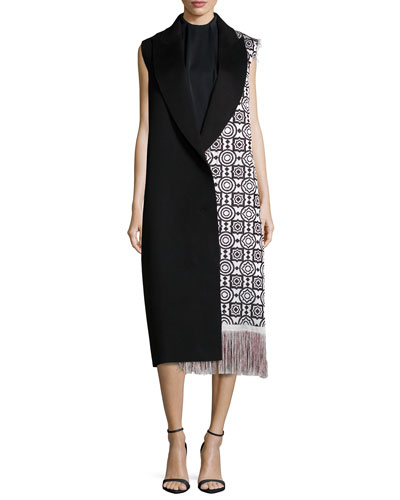 Moroccan-Weave Long Fringe Vest & Sleeveless Mock-Neck Shift Dress