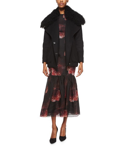 Double-Breasted Fur-Collar Coat & Floral-Print Chiffon Trumpet Gown