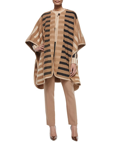 Mixed-Tone Striped Blanket Cape, Striped Long-Sleeve Sweater & Tina Straight-Leg Wool Trousers