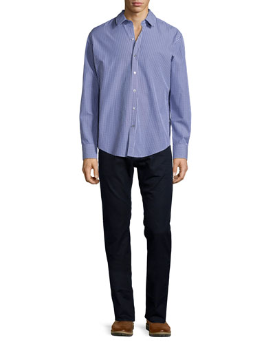 Check Long-Sleeve Woven Shirt & Maine Straight-Leg Denim Jeans