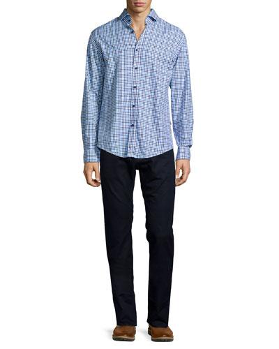 Gingham Long-Sleeve Woven Shirt & Maine Straight-Leg Denim Jeans