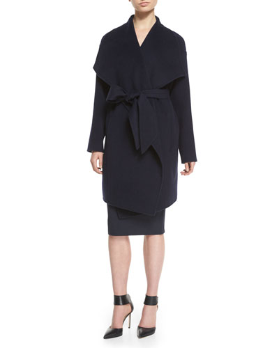 Draped Belted Cashmere Blanket Coat & Ruched Cold-Shoulder Sheath Dress
