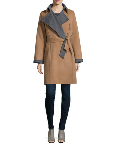 Double-Face Belted Wool-Blend Coat & Long-Sleeve Knit Shell