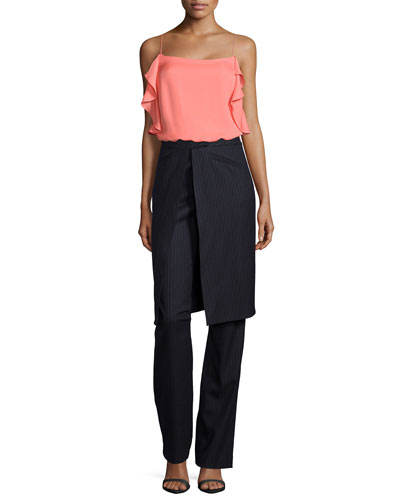 Sleeveless Ruffled Cami & Pinstripe Wrap Skirt Trousers