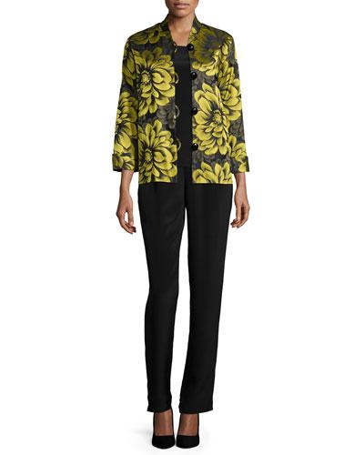 Caroline Rose Flower Show Boxy Jacket, Silk Crepe