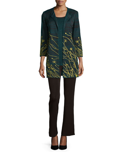 Floral Embroidered Jacket,  Melange Long Knit Tank & Boot-Cut Knit Pants