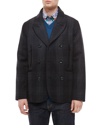 Plaid Double-Breasted Coat, Bagley Textured V-Neck Sweater & Finn Printed Long-Sleeve Sport Shirt