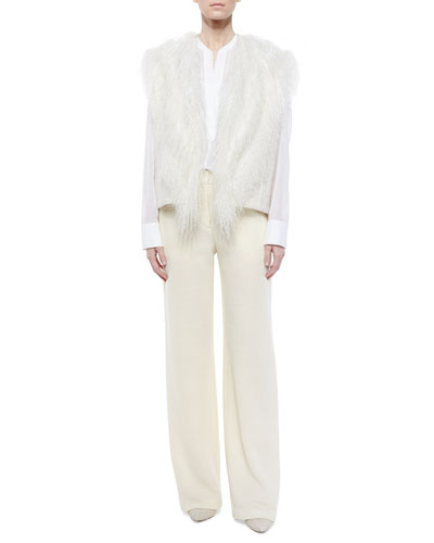 Fur-Trim Knit Vest, Poet Sheer Long-Sleeve Blouse & Wide-Leg Wool Pants