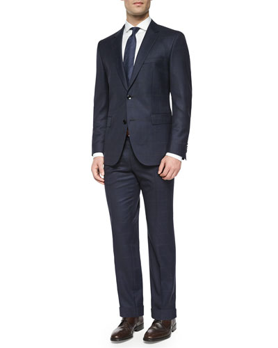 Windowpane Two-Piece Wool Suit, Dress Shirt & Box-Check Tie