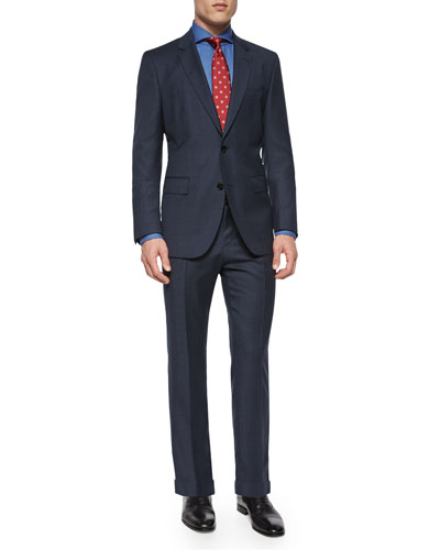Solid Two-Piece Wool Suit, Tie & Dress Shirt