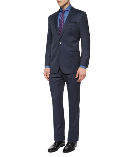 Striped Three-Piece Wool Suit, Dwayne Slim-Fit Micro-Textured Dress Shirt & Neat Box Silk Tie