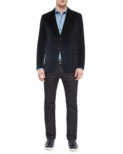 Textured Velvet Two-Button Jacket, Micro-Houndstooth Woven Sport Shirt & Five-Pocket Slim-Fit Stretch Jeans