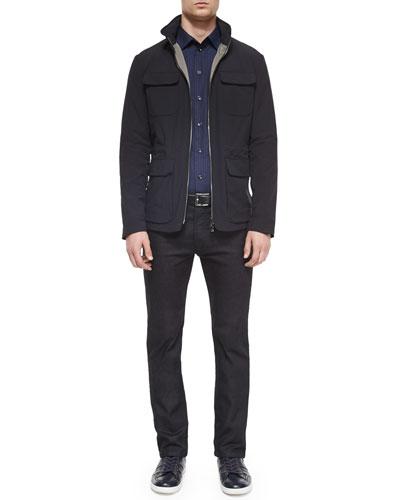 Four Flap-Pocket Field Jacket, Tonal Plaid Woven Sport Shirt & Five-Pocket Slim-Fit Stretch Jeans