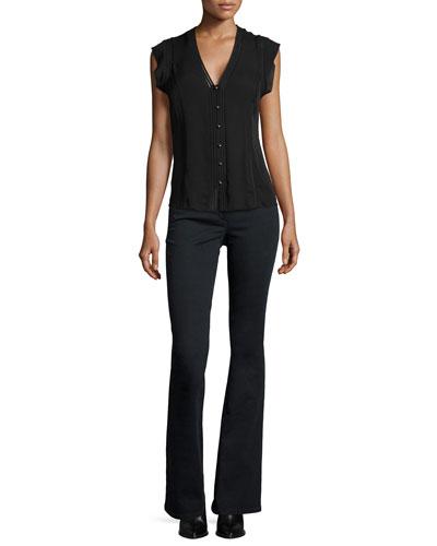 Fulton Silk Flutter-Sleeve Top & High-Waist Flare Pants