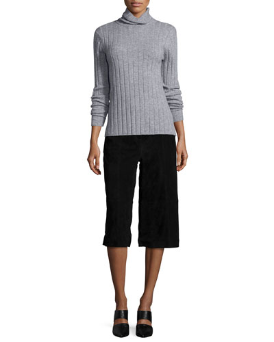 Ribbed Wool/Cashmere Turtleneck Sweater & Suede Culottes