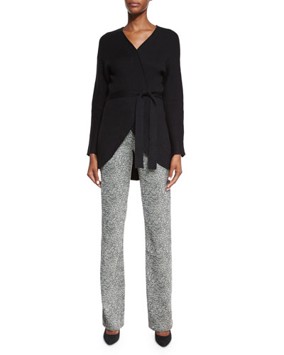 Fringe Back Tie-Waist Cardigan & Textured Jacquard Pants