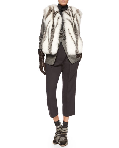 Marbled Fox Fur Vest, Tweed Blazer with Monili Cuffs, Chiffon-Sleeve Turtleneck Top, Pleated Front Ankle Pants, Tall Leather Gloves & Cashmere-Blend Mid-Calf Socks