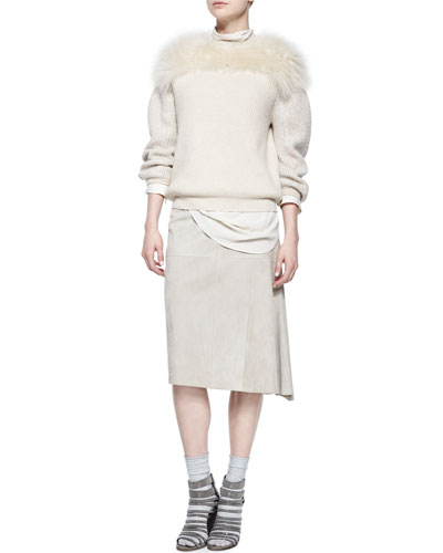 Fur-Yoked Cashmere-Blend Sweater, Ribbed Layered Turtleneck Tunic & Suede Asymmetric Midi Skirt
