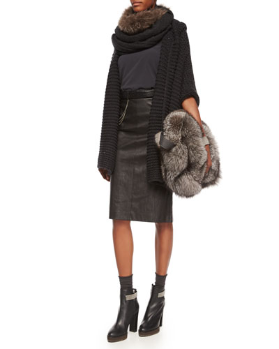 Hooded Piuma-Link Poncho, Matte Silk Turtleneck Top, Leather Pencil Skirt & Accessories