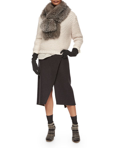 Fox-Fur Stole W/Monili-Chain Clasp, Fisherman-Links Long-Sleeve Sweater, Wool-Cashmere Faux-Wrap Skirt & Accessories