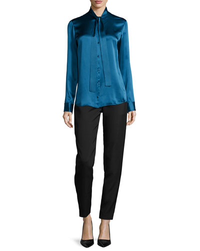 Tipet Silk Tie-Neck Blouse & Locu Zip-Front Tapered Pants
