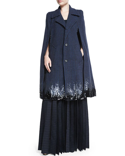 Degrade Sequined Houndstooth Long Cape & Beaded Tulle-Inset Pleated Maxi Skirt
