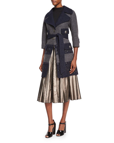 Grommet-Detailed Two-Tone Coat, Sleeveless Backwards Knit Sweater & Pleated Metallic Leather Skirt