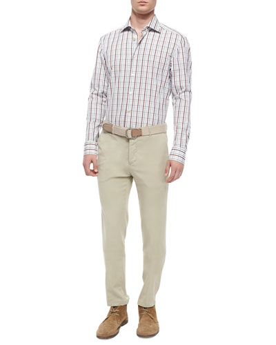 Plaid Woven Shirt & Flat-Front Stretch-Twill Trousers