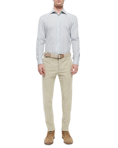 Check Long-Sleeve Woven Shirt & Flat-Front Stretch-Twill Trousers