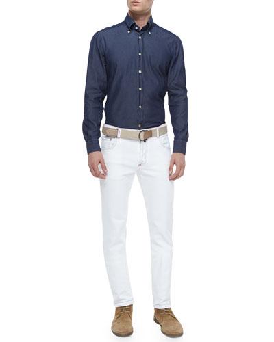 Chambray Long-Sleeve Woven Shirt & Five-Pocket Stretch-Denim Pants