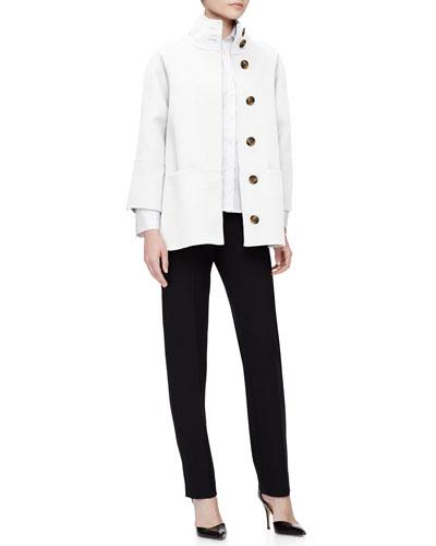 Carolina Herrera Double-Face Short Coat, Classic Pique Button