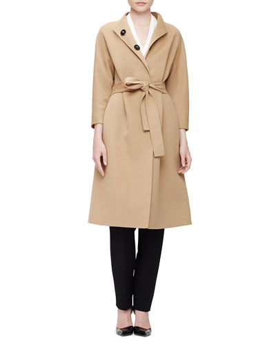 Double-Faced Belted Wrap Coat, Cowl-Neck Peplum Top & Clean-Front Pintuck Skinny Pants