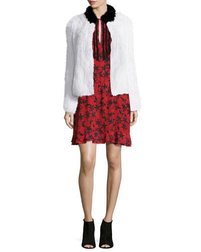 Louis Rabbit Fur Jacket & Remus Silk Long-Sleeve Dress