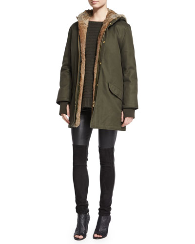 Kar Deluxe Fur-Lined Jacket, Athina Cashmere Sweater & Pharly Leather Pants