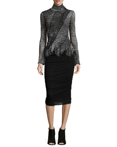 Trompe l'Oeil Fur-Print Turtleneck Top & Ruched Tulle Knee Skirt