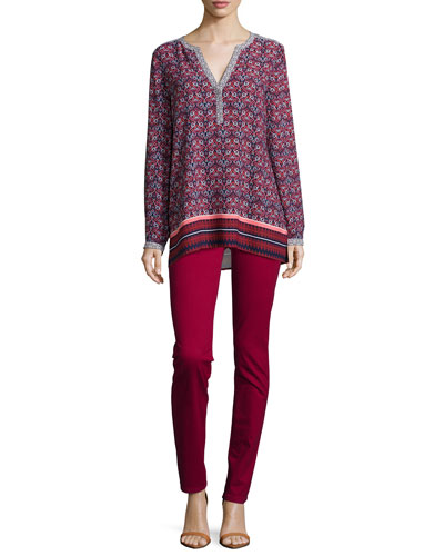 Scarf-Print Long-Sleeve Tunic & Samantha Peached Sateen Slim Jeans