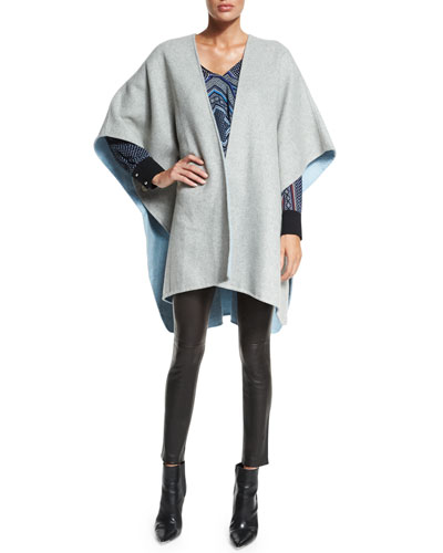 Wool-Blend Cape, Wrap-Front Long-Sleeve Blouse & Leather Ankle Leggings