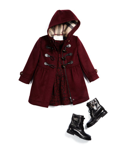 Ally Hooded Wool Duffle Coat, Tais Leopard-Print Silk Dress & Woodcliff Leather Combat Boot