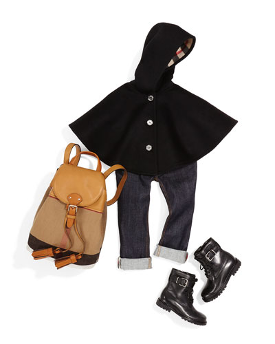Rose Button-Front Cape, Skinny Rolled-Hem Jeans, Mini Check Canvas Backpack & Woodcliff Leather Combat Boot