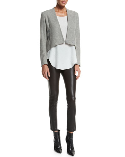 Cropped Jacket W/ Band Detail, Floral Jacquard Silk Tank & Leather Ankle Leggings