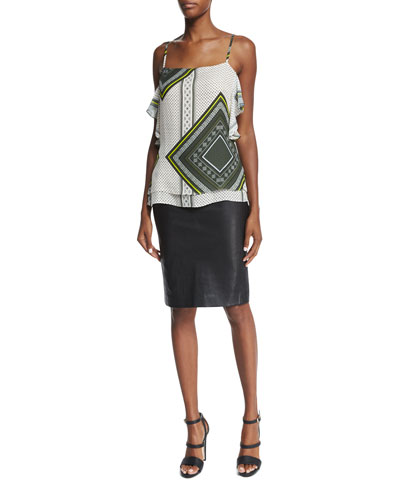 Ruffled Silk Printed Cami Top & Lambskin Pencil Skirt