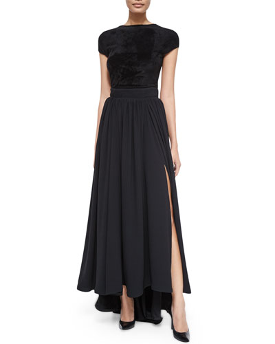 Cap-Sleeve Bateau-Neck Top & Long High-Waist Pleated Skirt