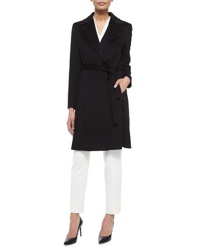 Wool Long-Sleeve Coat & Tina Slim-Leg Pique Pants