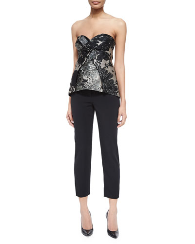 Strapless Bustier w/Crystals & Satin-Trim Tuxedo Ankle Pants