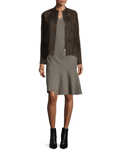 Paulina Suede Jacket W/ Fringe & Jaydn Sleeveless V-Neck Dress