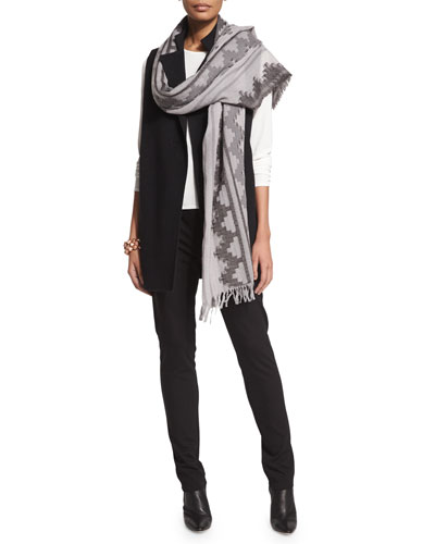 High-Collar Double-Face Vest, Silk Crewneck Tee, Wool Interval Jacquard Scarf & Slim Ponte Pants, Petite