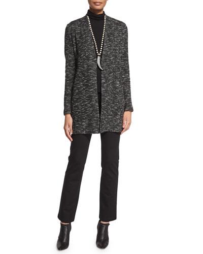 Long-Sleeve Micro-Tweed Jacket, Scrunch-Neck Long-Sleeve Top & Boot-Cut Ponte Pants, Women's