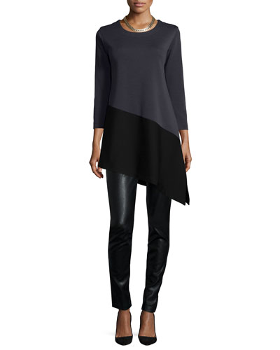 Colorblock Angled Tunic & Modern Faux-Leather/Ponte Easy Leggings, Women